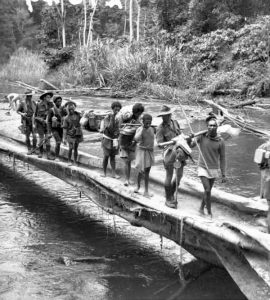 TROOPS AND NATIVE CARRIERS CROSSING THE BROWN RIVER, BETWEEN NAURO AND MENARI